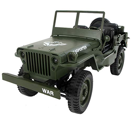 (RC Jeep Off-Road Car, 2.4G Open Car Military Jeep 4WD Rock Crawler RTR Toy,Ultra Distance Remote Control,Support Beveled Differential by Ljnuanrg (Green))