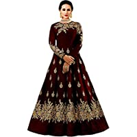 BRIDAL4Fashion Women's Embroidered Taffeta Maroon color Silk Anarkali Gown (Free size)