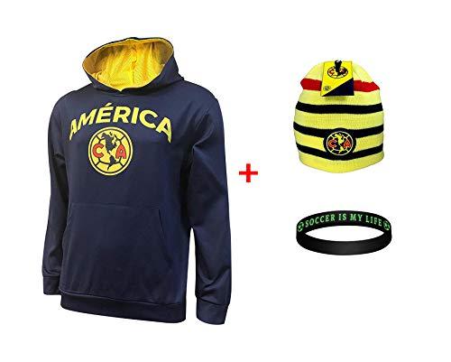 Soccer Ball Fleece Beanie - Club America Front Fleece Jacket Sweatshirt Official License Soccer Hoodie Combo 3 pcs Amer 0012 (Navy, L)