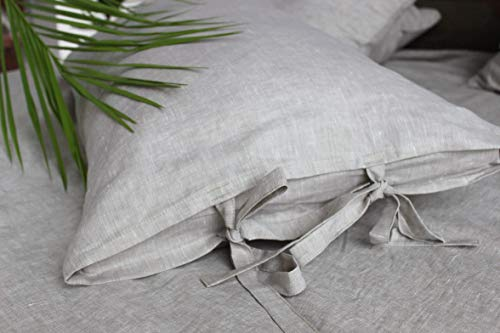 Natural Linen Pillow Sham with Ties - Standard, Queen, King, Euro Sizes - Natural, White, Grey, Pink, Blue Colors ()