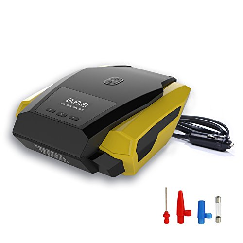 Portable Car Air Compressor,12V 150PSI Auto Digital Air Pump with LED Emergency Flashlight and Tire Pressure Monitoring for Car/SUV/Ball/Bike/Airbed/Motorcycle and Other Tire Inflator(Dual Cylinder)