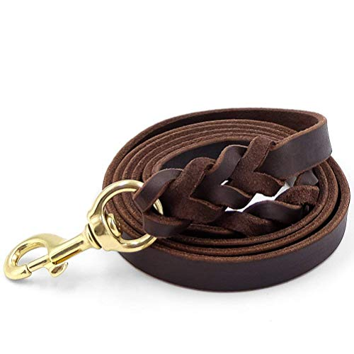 "Fairwin Leather Dog Leash 6 Foot - Braided Heavy Duty Training Leash for Large Medium Small Dogs Running and Walking (M:Width:5/8"", Brown)"