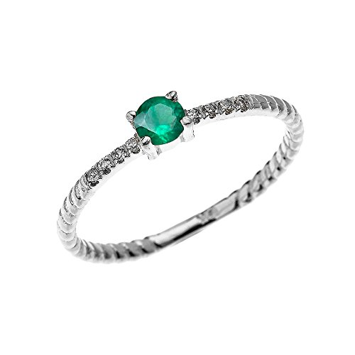 Rope Design Solitaire Ring (14k White Gold Dainty Diamond and Solitaire Emerald Rope Design Stackable/Proposal Ring(Size 4.5))