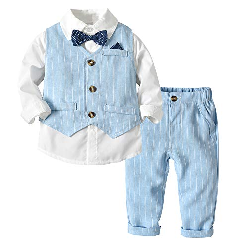 Tem Doger Baby Boys Plaid Button Down Casual Dress Shirt Slim Fit +Vest+Pant Outfits (70/3-6 Months, blue2) -