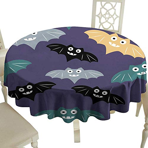 WinfreyDecor Restaurant Tablecloth Halloween Seamless Pattern Background with Colorful bat Cute Minimalistic Art Elements for Kitchen Dinning Tabletop Decoration D59 ()