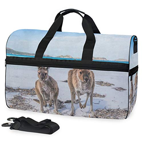 Kangaroo In Winter Snow Sports Gym Bag with Shoes Compartment Travel Duffel Bag for Men Women