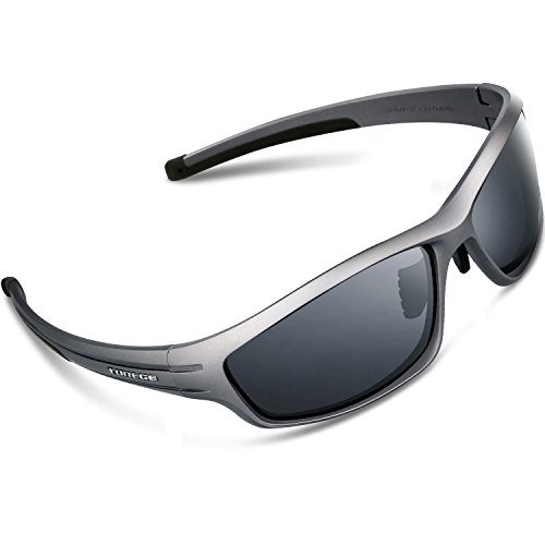 Torege Polarized Sports Sunglasses For Man Women Cycling Running Fishing Golf TR90 Unbreakable Frame TR034 (Gray&Black tips&Gray - Dollars Sunglasses