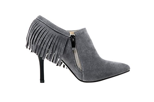BalaMasa Girls Slip-On Spikes-Stilettos Fringed Frosted Pumps-Shoes Gray 94p0wIDAy