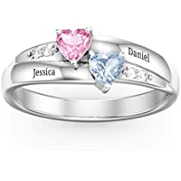 Promise Rings for Couples Birthstone Rings Custom Rings for Women Personalized Name Rings Meaningful Wedding Couples Rings with 2 Heart Simulate Birthstones Mothers Day Ring Girl Mother Wife Mom Lover