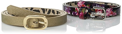 Betsey Johnson Women's Floral Two-For-One Belt, Navy Floral/Gold, Medium