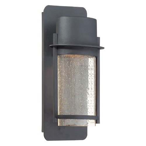 Minka Lavery 72251-66 1 Light Wall Mount in Black Finish w/ Clear Seeded Glass Shade