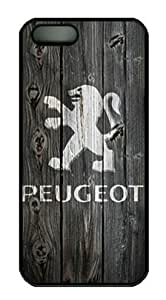 Peugeot Car Logo Iphone 5/5S Black Sides Hard Shell PC Case by eeMuse