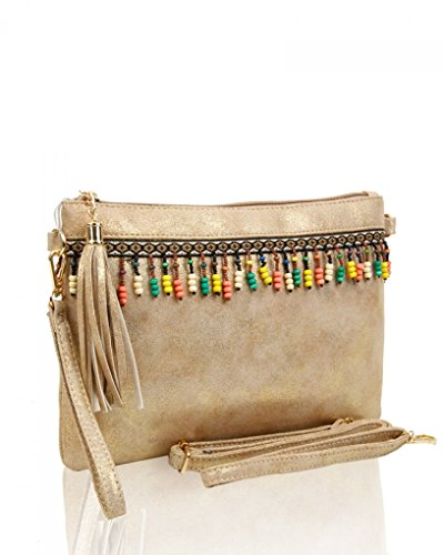 LeahWard Women's Soft Clutch Bags With Tassel Charm Shoulder Strap Wedding Purse For Bridal Prom Night Out SILVER TASSEL