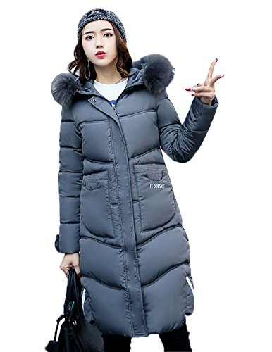 Bigood Grigio Womens Hooded Coat Warm Parka Overcoat Long Addensare Down Jacket HrRxwqZnWH