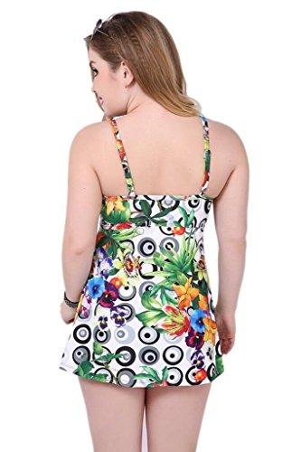Wincolor - Traje de una pieza - Floral - Sin mangas - para mujer Green(03)