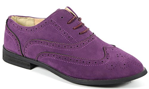 Bucco Oxee Womens Fashion Vegan Leather Oxford Shoes, Purple Suede, Size 7, US Purple Designer Shoes