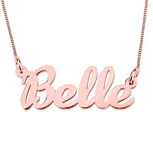 HACOOL Any Personalized Name Necklace 925 Sterling Silver Necklace in 18k Gold Plated Custom Any Name (Rose Gold)
