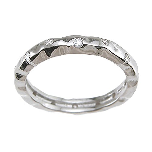 Plutus Brands 925 Sterling Silver Rhodium Finish CZ Brilliant Fashion Wedding Band 0.1 Carat Weight - Size 9