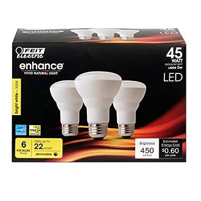 (6-Pack) Feit LED Dimmable R20 Bright White High Performance Flood Light Bulb, 450-Lumen, 3000K, 45-Watt Equivalent, E26 Base, CRI 90+