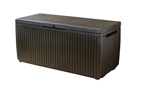 Keter Springwood Plastic Deck Storage Container Box Outdoor Patio Garden Furniture 80 Gal, Brown (Deck Garden Patio)