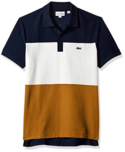 Lacoste Men's Short Sleeve Noppe Pique Striped Color Block Polo, Navy Blue/Flour/Renaissance Brown, Large