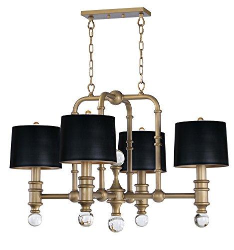 - Maxim 22424CLWBR Saloon 4-Light Pendant Brass Glass
