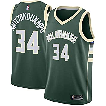 NBA MilwaukeeBucks Antetokounmpo 34 Swingman Men Jersey Hombres (Verde, M)