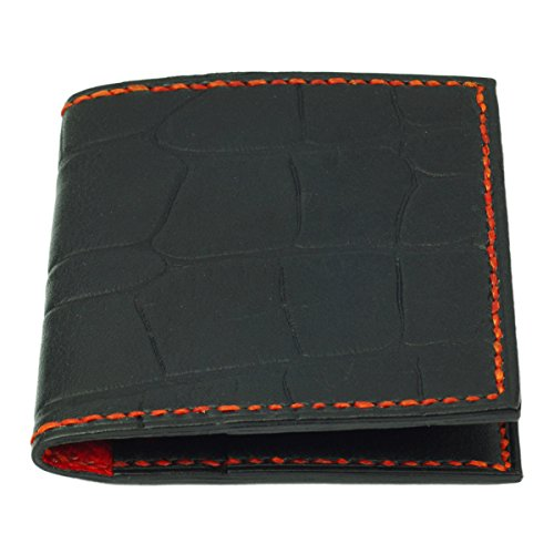 Card Crocodile Handmade Wallet Red Grain Leather Credit Black Black AqUg6p6