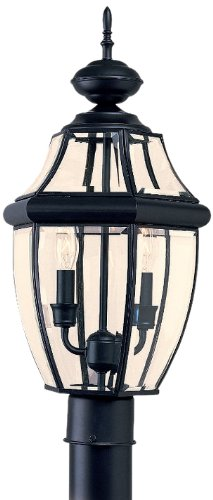 Sea Gull Lighting 8229-12 Outdoor Post Mount with Clear BeveledGlass Shades, Black Finish by Sea Gull Lighting B000JZXYWM