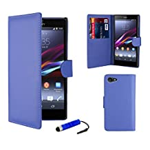 32nd® Book wallet PU leather case cover for Sony Xperia Z3 Compact mobile phone - Deep Blue