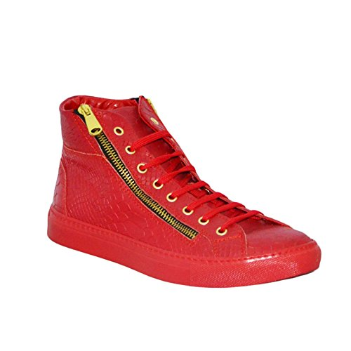 Sneakers Uomo Alta Stringata Cerniere Rosso Squamato Pelle Made in Italy men shoes scarpe