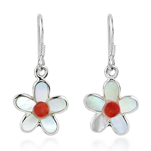 Coral Inlay Earrings - Glowing Daisy Shell and Reconstructed Red Coral Inlay .925 Sterling Silver Dangle Earrings