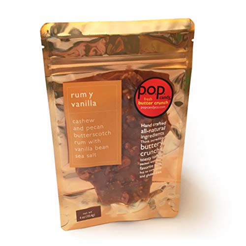 (Pop Candy Rum Y Vanilla Fresh Butter Crunch Toffee | All-Natural Gourmet Candy Brittle | Corn Syrup-Free, Gluten-Free, Peanut-Free, and Soy-Free | 4 Ounces)