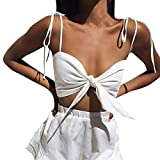 NUWFOR Women Solid Sexy Off Shoulder Strapless Vest Bow Knot Tank Top Crop Blouse(White, US Bust:28.3'')