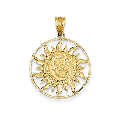 14K Yellow Gold Sun, Moon and Star Charm Pendant ()