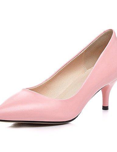 ZQ Zapatos de mujer-Tac¨®n Cono-Tacones / Puntiagudos-Tacones-Oficina y Trabajo / Casual-Cuero-Negro / Rosa / Beige , pink-us8 / eu39 / uk6 / cn39 , pink-us8 / eu39 / uk6 / cn39 black-us6.5-7 / eu37 / uk4.5-5 / cn37