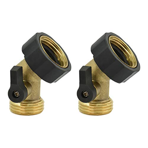 Heavy Duty 45° Gooseneck Hose Connector Brass Shut-Off Valve,Faucet Extender,2 PCs