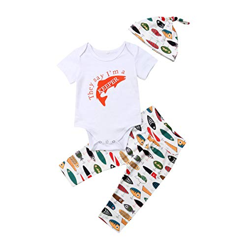Lamuusaa Newborn Toddler Baby Girl Boy Letter Printed Short Sleeve Romper Bodysuit Pants Hat 3Pcs Summer Outfit (3-6M, Style ()