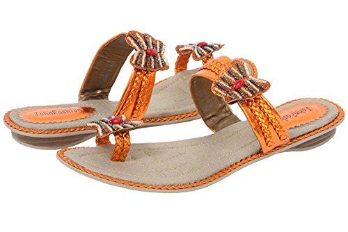 JohnFashion Women's Leather Metallic Embroidery Butterfly Beads Sandal Orange MRF4Qd