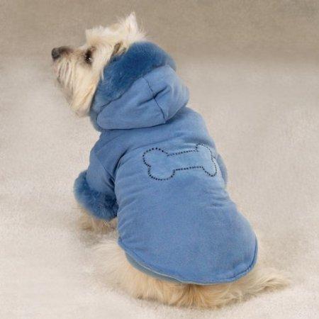 Faux Suede Dog Coat Jacket - Zack & Zoey Blue Bone Studded Powder Puff Faux Suede Dog Coat Jacket X-Small