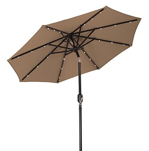 Trademark Innovations Solar LED Patio Umbrella, Tan, 7′