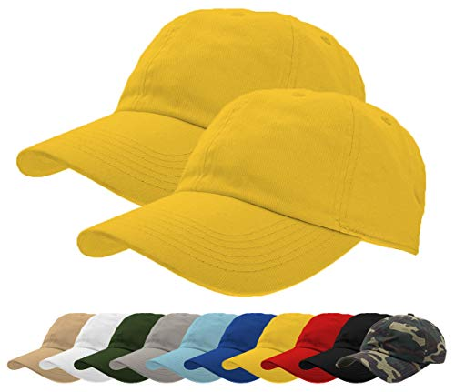 - TrueM Clothing Set of 2 Classic 100% Washed Cotton Plain Baseball Caps Dad Hats Polo Style Adjustable Size Unstructured Soft (Yellow 2 pcs)