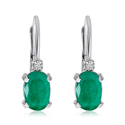 White Gold 6x4mm Oval Emerald - 7