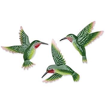 Amazon.com: Hummingbird Outdoor Wall Decor - 3 Piece Garden Wall ...