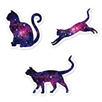 Cat Stickers Galaxy Collection - Cat Laptop Stickers - 3 Pack - Vinyl Decal - Laptop, Phone, Tablet Vinyl Decal Sticker