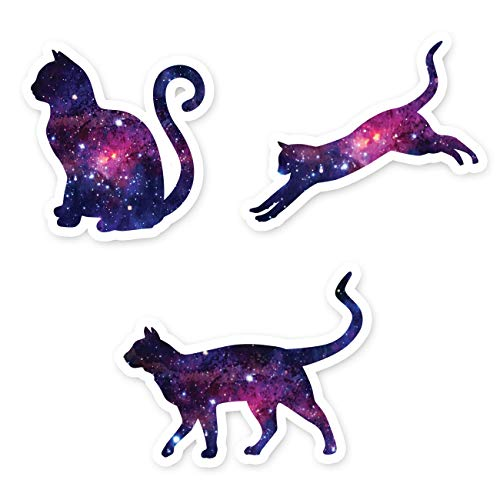 Cat Stickers Galaxy Collection - Cat Laptop Stickers - 3 Pack - Vinyl Decal - Laptop, Phone, Tablet Vinyl Decal Sticker (Vinyl Decals Collection)