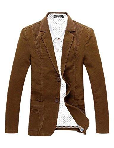 Tanming Men's Two-Button Corduroy Splicing Cotton Suit Blazer Jacket Outerwear (Brown, Medium)