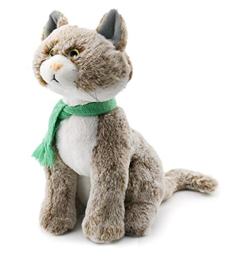 Ice King Bear Sitting Cat with Knit Scarf - Stuffed Animal Plush Toy (Coffee, 11 Inches)