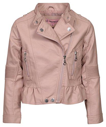 Pink Girls Jacket (Urban Republic Children's Collar Motorcycle Coat Faux Leather Jacket Big Girls Biker Jacket (10/12, Light Pink)')