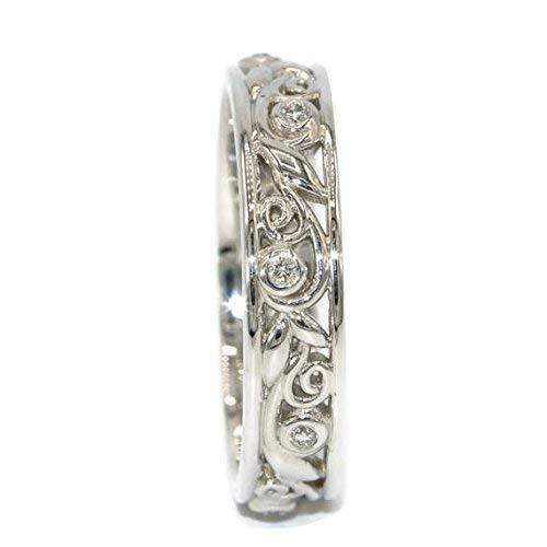 14k White Gold Diamond Leaf Wedding Eternity Rustic ()